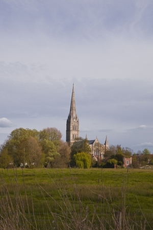 Salisbury cathedral and the west harnham water meadows in Wiltshire, England. photo