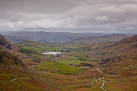 langdale: Looking down on Little Langdale in the lake District national park. Stock Photo