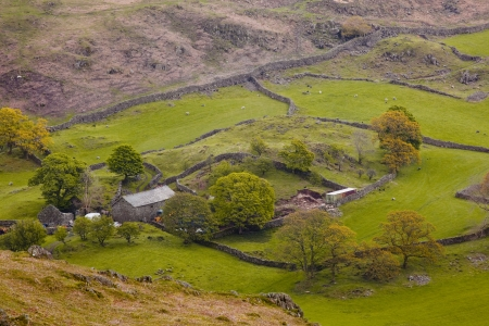 Looking down on a farm from the Dunnerdale Fells Stock Photo - 14364486