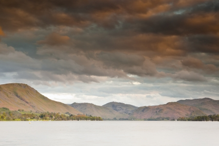 Looking across Ullswater in the Lake District National Park at dusk. photo
