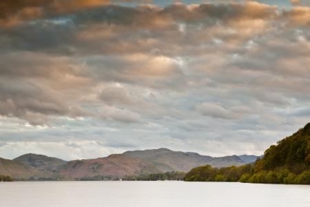 Looking across Ullswater in the Lake District National Park at dusk. Stock Photo - 14364204