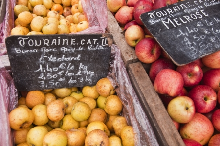 touraine: A variety of locally grown apples for sale at the market in Tours, France. Touraine is the name that the area is known as locally. Editorial