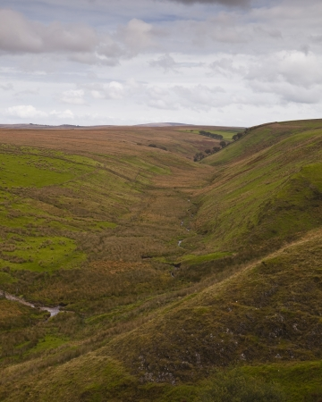 Looking down a river valley in Exmoor National Park. photo