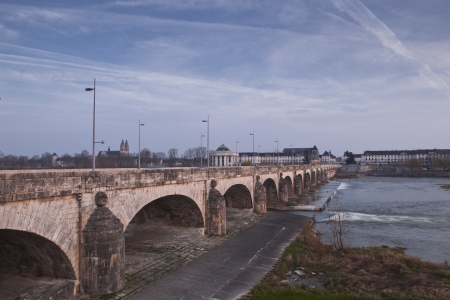wilson: Looking across the river Loire towards the city of Tours. Pont Wilson helps take us across the flowing waters. Stock Photo