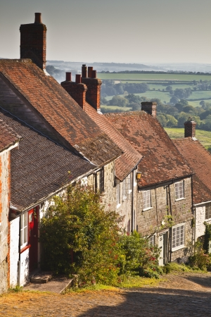 The famous Gold Hill in Shaftesbury, Dorset. photo