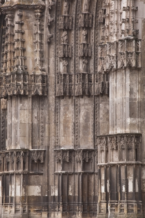 masonary: Side view if the entrance to saint Gatien cathedral in Tours, France. Stock Photo