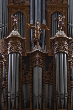Detail of the huge organ in Saint gatien cathedral in Tours, France. Stock Photo