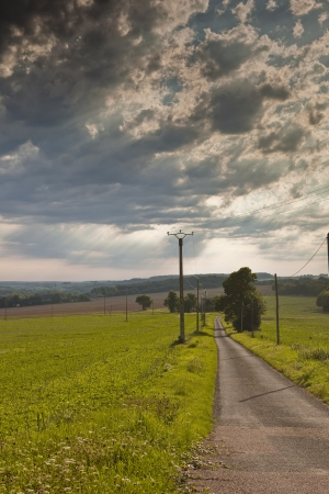 A storm passes over the French countryside of the Loire Valley. photo