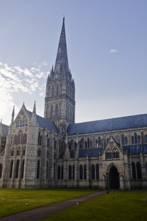 The beautiful Salisbury cathedral and its spire. photo