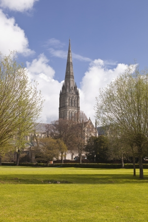 wiltshire: The magnificent Salisbury cathedral in Wiltshire. Stock Photo
