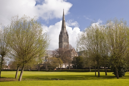 The magnificent Salisbury cathedral in Wiltshire. Stock Photo
