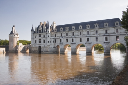 Chateau Chenonceau striding across the river Cher. photo