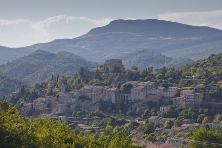 Montbrun Les Bains in het departement Drôme van de Provence, Frankrijk. Stockfoto