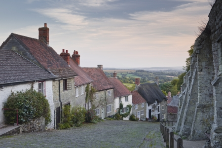 cobbled: Gold Hill in Shaftesbury, Dorset.
