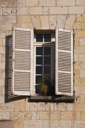 Old french window, vieux Tours, Tours, Indre-et-Loire, France. photo