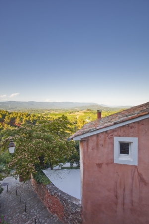 Looking over the rooftops of Roussillon in Provence  Stock Photo