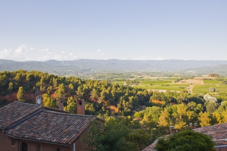 Looking over the rooftops of Roussillon in Provence  photo