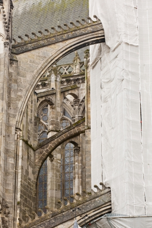 Scaffolding covering restoration works on Saint Gatien cathedral. photo