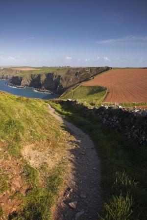 south west coast path: South West Coast Path verso Pengirt Cove, Cornwall, Inghilterra, Regno Unito.