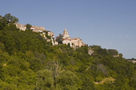The hilltop village of Venasque in Provence photo