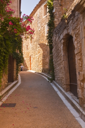 An old street in Venasque, Provence. Stock Photo