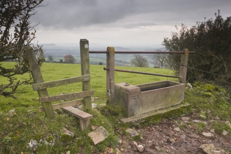 stile: A stile or gate in Somerset. Stock Photo