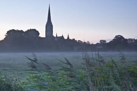 constable: Salisbury cathedral on a misty morning.