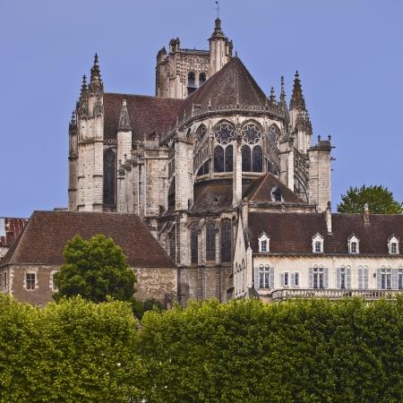 Auxerre kathedraal in Bourgondië, Frankrijk. Stockfoto