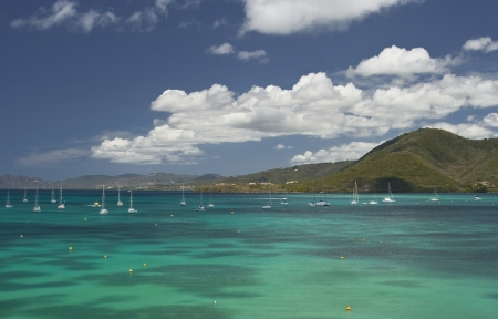 martinique: The beautiful clear blue seas of the Caribbean in Martinique  Stock Photo
