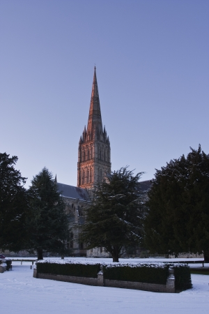 Salisbury cathedral after a snow fall. photo
