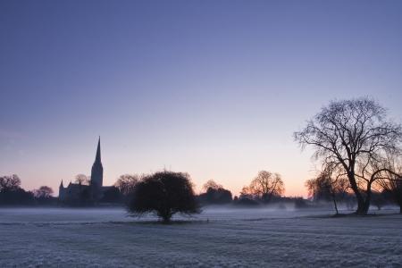 Salisbury kathedraal over de uiterwaarden. Stockfoto