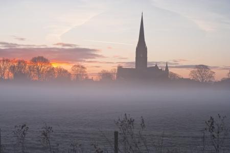 Salisbury Cathedral over de uiterwaarden.