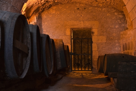 usse: The wine cellar in Chateau dUsse in the Loire Valley of France.
