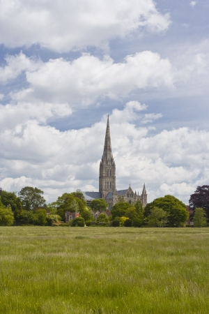 Salisbury cathedral across the water meadows. photo