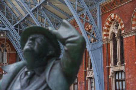 The John Betjeman statue in St Pancras railway station.