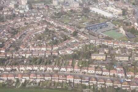 Aerial of London suburbs, UK.