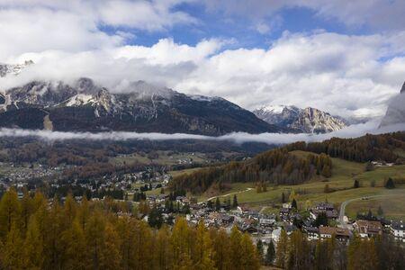 Beautiful autumn colours in Cortina d'Ampezzo, Dolomites, Italy Stock Photo - 146352027