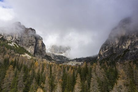 The craggy mountains of the Dolomites in northern Italy.