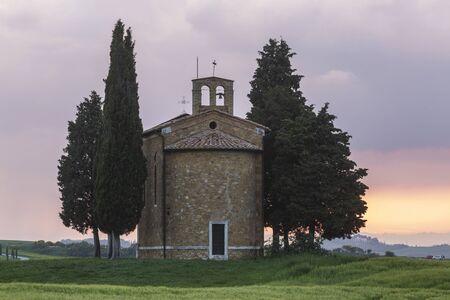 Cappella della Madonna di Vitaleta in the Val d'orcia, Tuscany.