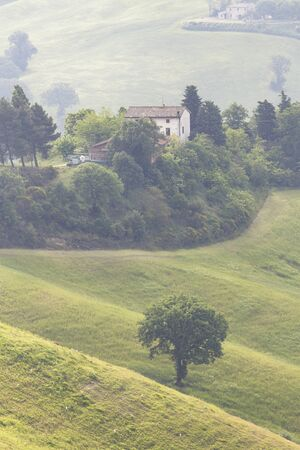The rolling landscape of Le Marche in Italy.