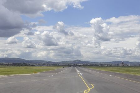 Looking down the runway at Florence airport, Tuscany, Italy.