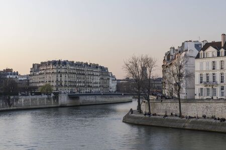 The banks of the river Seine in Paris, France.