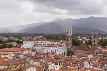 Chiesa San Frediano rising above the historic centre of Lucca.
