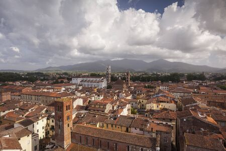 The rooftops of the histroic centre of Lucca.
