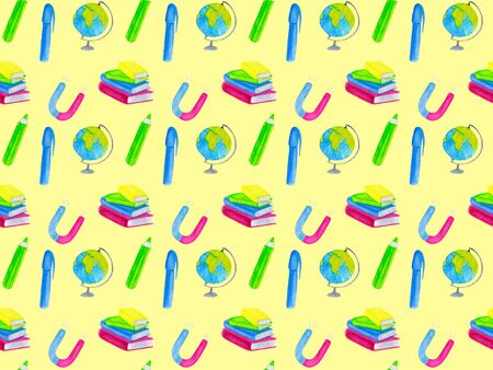 Back to school watercolor seamless pattern with magnet, globe, books, pen and pencil. Pattern for fabric and textile on yellow background. Hand drawn illustration