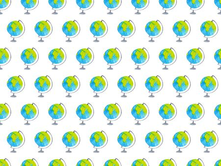 Geography watercolor seamless pattern with globes on white background. Pattern for wrapping paper, fabric and textile. Hand drawn illustration