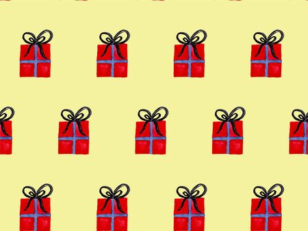 Seamless watercolor pattern with red wrapped christmas gift boxes. New year festive background. Template for fabric or wrapping paper print. Hand drawn illustration. Christmas decoration objects. Фото со стока