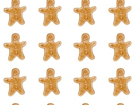 Seamless watercolor pattern with brown christmas gingerbread men. New year festive background. Template for fabric or wrapping paper print. Hand drawn illustration. Christmas food decoration objects.
