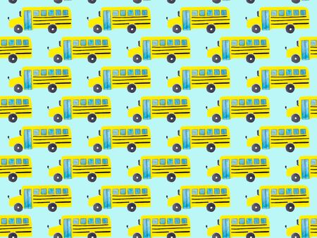Seamless pattern with yellow school bus on blue background. Back to school backdrop. Hand drawn transportation objects for kids or pupils. Textile or fabric template Stock Photo