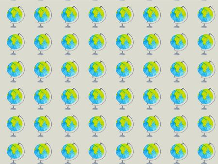 Geography watercolor seamless pattern with globes on gray background. Pattern for wrapping paper, fabric and textile. Hand drawn illustration
